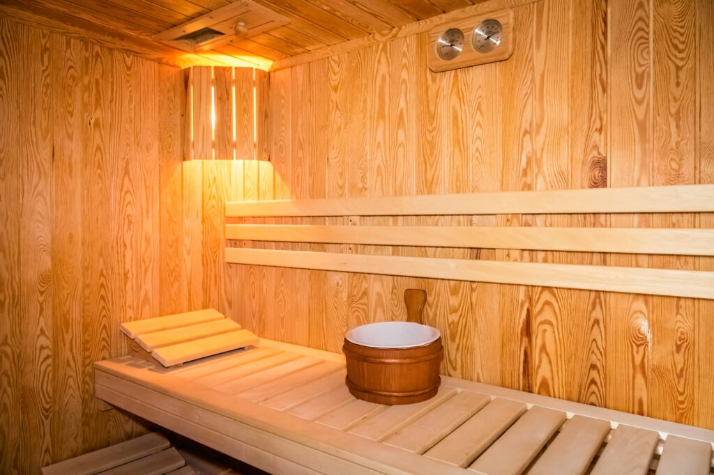 Interior of a wooden bed in a home sauna